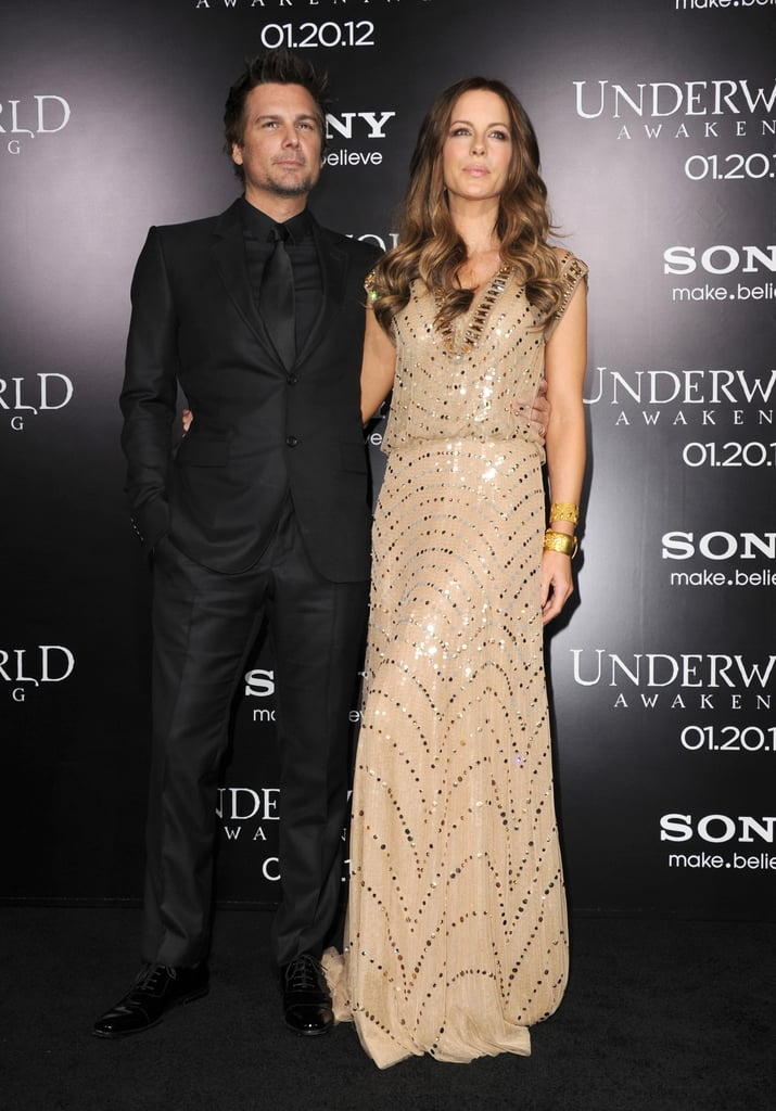 Kate Beckinsale, in Jenny Packham, and her husband Len Wiseman cozied up on the black carpet at last night's Underworld: Awakening, held outside LA's Grauman's Chinese Theatre. It's the fourth film in the franchise, and it gave star Kate and writer Len yet another chance to work side-by-side. In previous installments of the series, Len has served as director. He was in that role when they first met on the set of the original Underworld back in 2003. They married in 2004.   It's been a busy week for Kate and Len, who kicked things off at Sunday's Golden Globes. They mingled at various afterparties, and then kept the socializing coming on a Tuesday double date with Emily Blunt and John Krasinski. John, Len, Kate, and Emily checked out a comedy show from The Office cocreator Stephen Merchant, and Colin Firth even joined in on the fun. Kate and Len may keep the good times rolling as they celebrate their movie's arrival in theaters today.