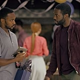 Anthony Mackie (Avengers: Endgame) and Yahya Abdul-Mateen II (Aquaman) have a tense discussion in a still from their episode, which seems to involve some relationship problems for Mackie.