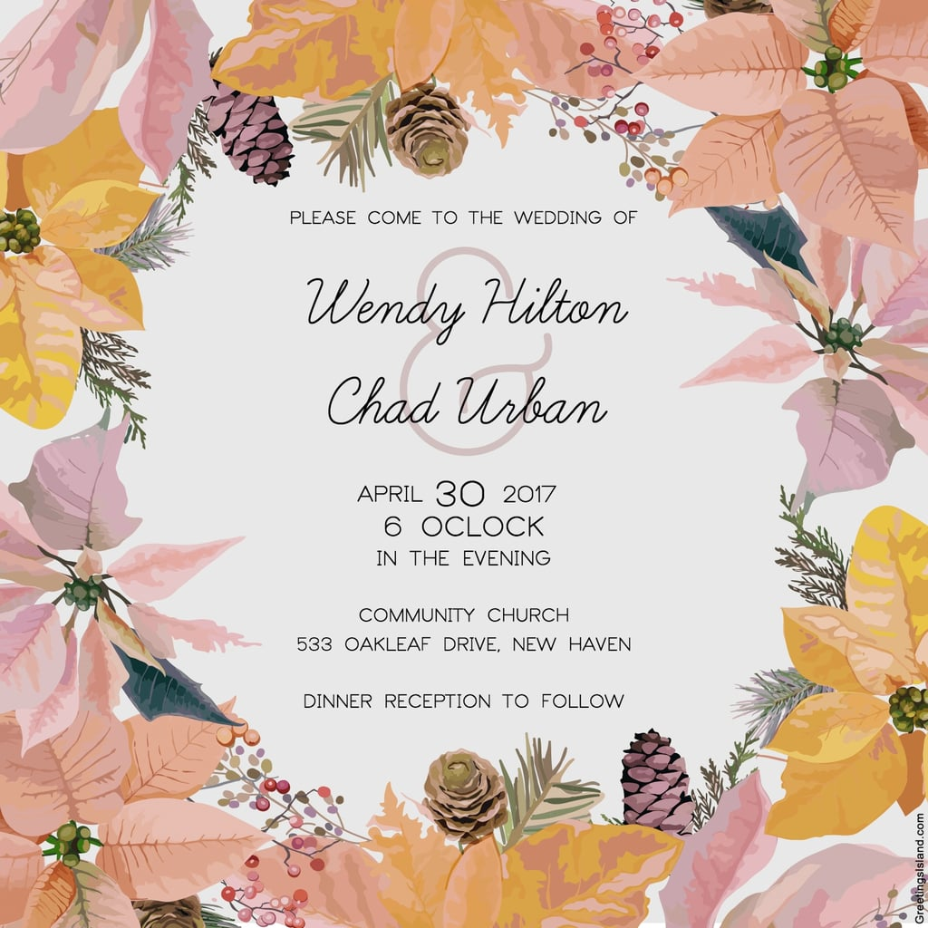 Pine Cones and Flowers Wedding Invitation