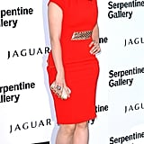 Hayley Atwell teamed her bright coloured frock with peep toe platform heels.