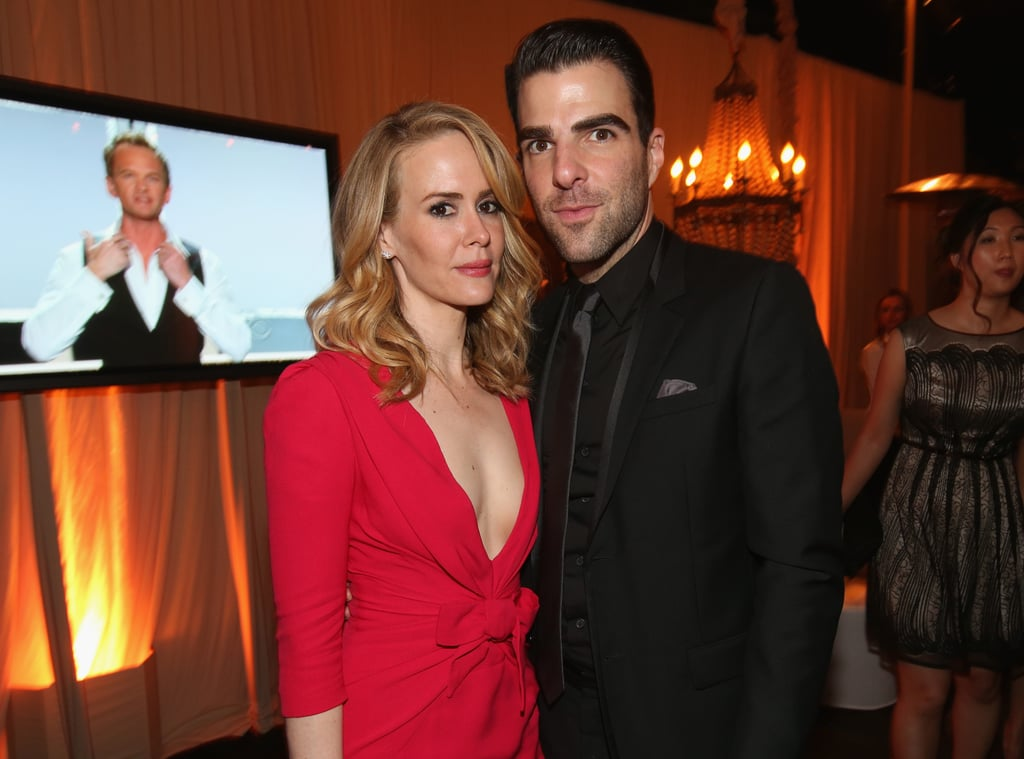 Zachary Quinto shared a moment with Sarah Paulson at the Fox after party.