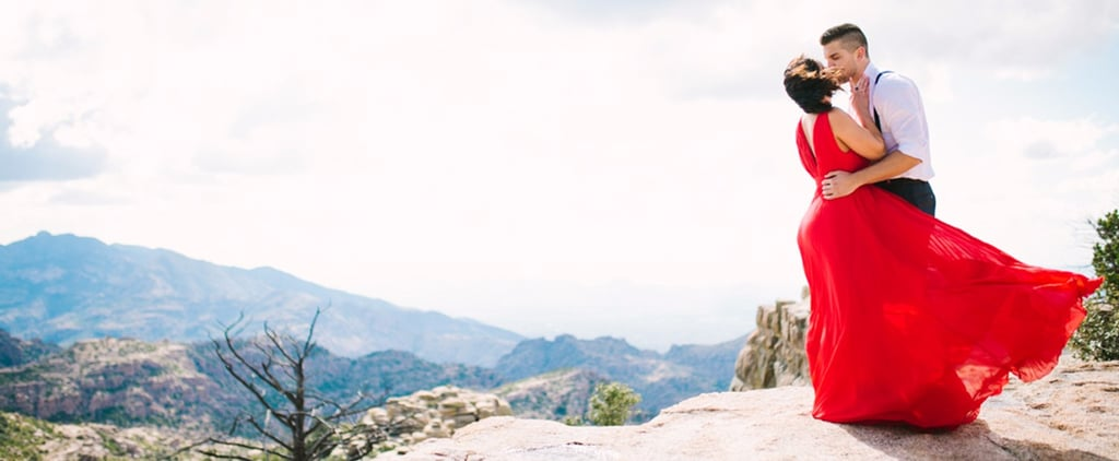 A Red Dress and a Mountaintop Made For 1 Breathtaking Engagement Session