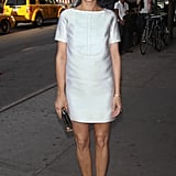 Kristen Wiig was chic and a little bit mod in a boxy white Viktor & Rolf minidress and pale pink pumps in NYC.