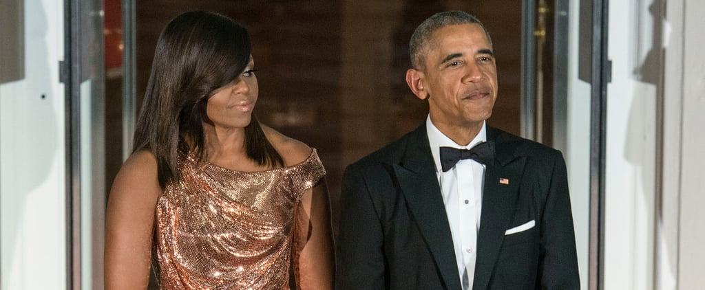 You Won't Be Able to Get Over Seeing Michelle Obama in All of Her Gilded, Versace Glory