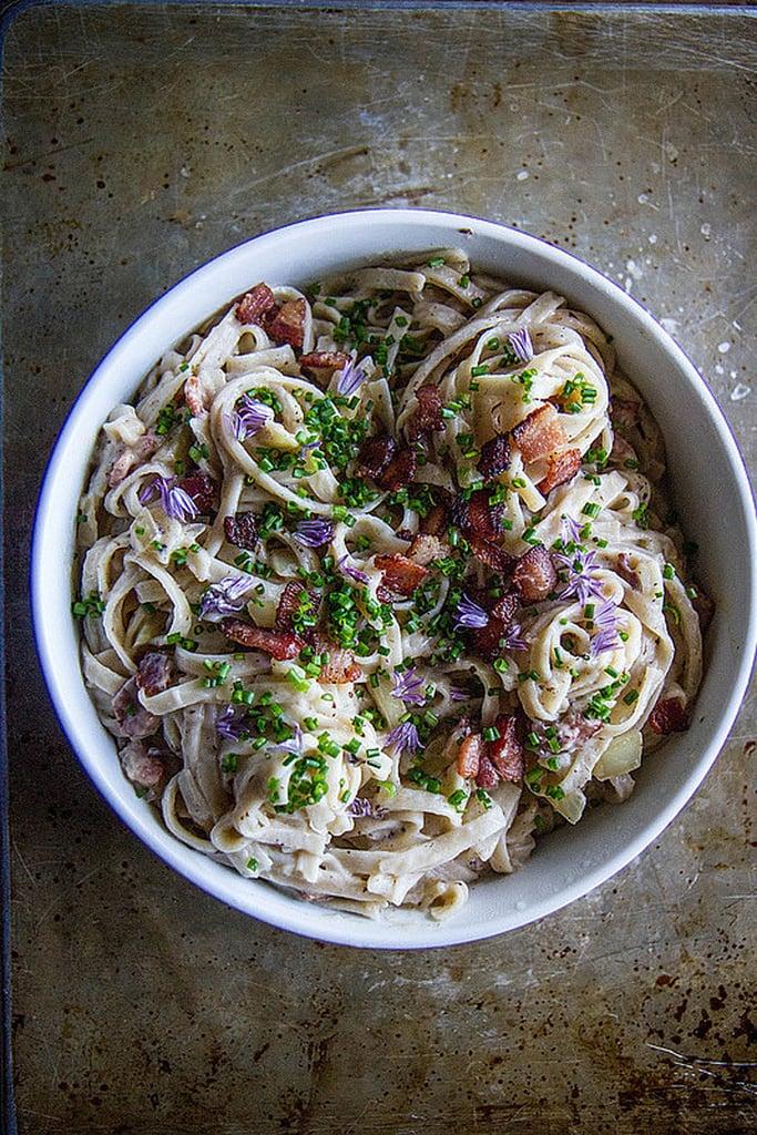 Creamy Cauliflower Fettucine Alfredo With Bacon
