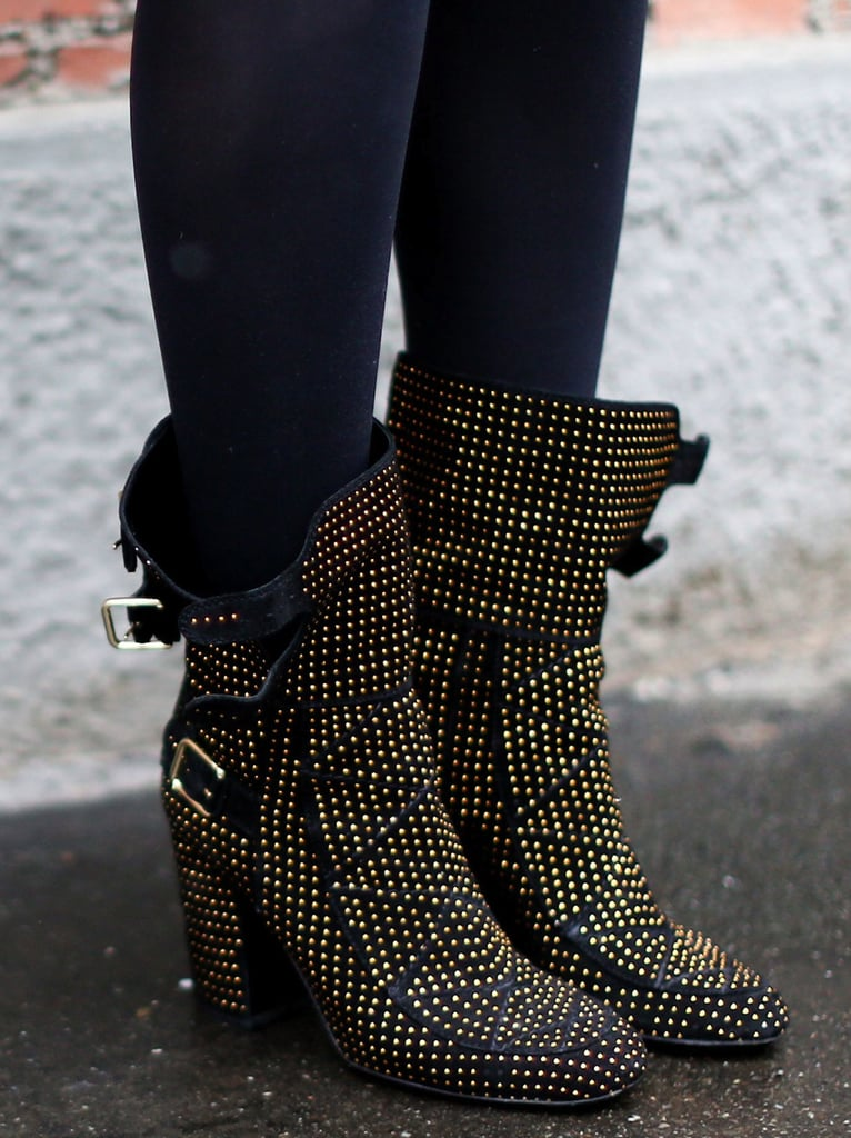 We love the statement-making gold stud detailing on these buckled boots.