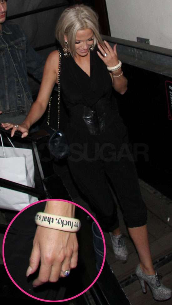 Sarah Harding gave us a peek at her engagement ring as she partied at Michelle Gayle's birthday bash at Lucky Voice in London on Friday. She got engaged to DJ Tom Crane over New Year's, but hasn't worn her ring on nights out until this weekend. Sarah is thinking of wearing two dresses on her wedding day, just like Kate Middleton. The brides-to-be also having similar rings made of sapphires and diamonds.