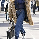 With a Furry Coat, Sheer Shirt, Statement Belt, and Star Booties