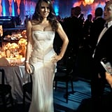 Elizabeth Hurley is dressed up to the nines for Elton John's party.