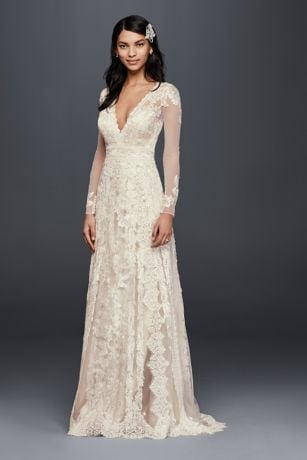 Melissa Sweet For David's Bridal Linear Lace Wedding Dress