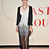 Olivia Palermo stunned in a lacy Valentino for the opening of Valentino: Master of Couture in London.