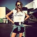 Behati Prinsloo posed in a cheeky custom-made crop top. Source: Instagram user behatiiprinsloo