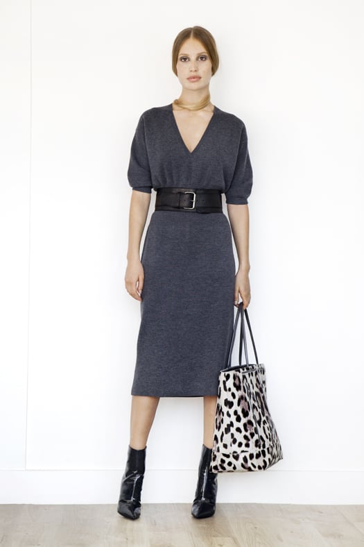 V-Neck Merino Sweater Dress in Charcoal, Excess Patent Ankle Boot in Black, TM Love Pony Tote in Grey/Cream Leopard. Photo courtesy of Tamara Mellon