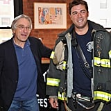 Robert De Niro hung out with an FDNY fireman at the Jury lunch for the 2012 Tribeca Film Festival.