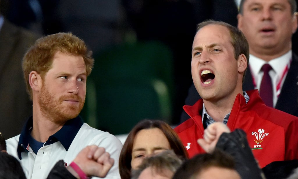 Harry gave William a funny look while taking in the Rugby World Cup back in September 2015.