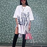 Wear an Oversize T-Shirt as a Dress and Style It With Thigh-High Boots