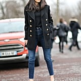 A Black Top, Military-Style Jacket, and Cropped Skinny Jeans