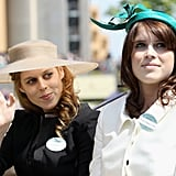 Princesses Beatrice and Eugenie attended day one of Royal Ascot 2011, wearing (respectively) a wide-brimmed sun hat and a teal green fascinator.