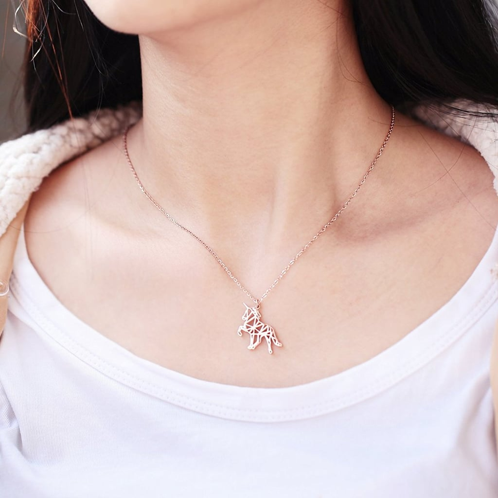 Hanfly Rose Gold Plated Unicorn Necklace
