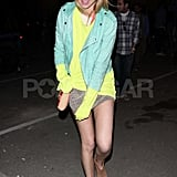 Whitney Port dressed in neon for the carnival.