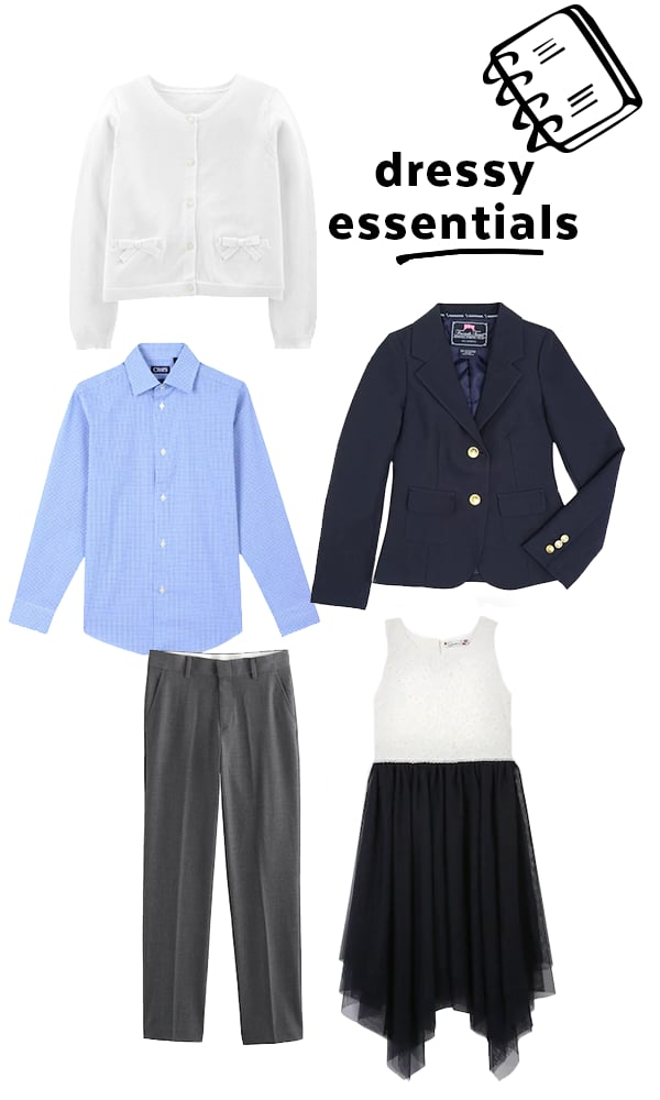 No wardrobe is complete without a few special-occasion pieces. Concentrate on neutral-colored items for boys, and versatile dresses and skirts for girls. You want to be sure these looks can work for a variety of events — think weddings, recitals, and formal family gatherings.