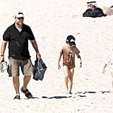 Russell Crowe stopped by the beach in Australia with sons Charles and Tennyson in April 2011.