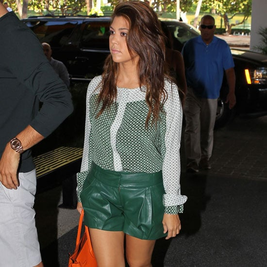 Kourtney Kardashian Wearing Green Leather Shorts