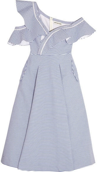 7cdd227cc1c9 Self-Portrait Off-the-Shoulder Striped Cotton-Poplin Midi Dress ...