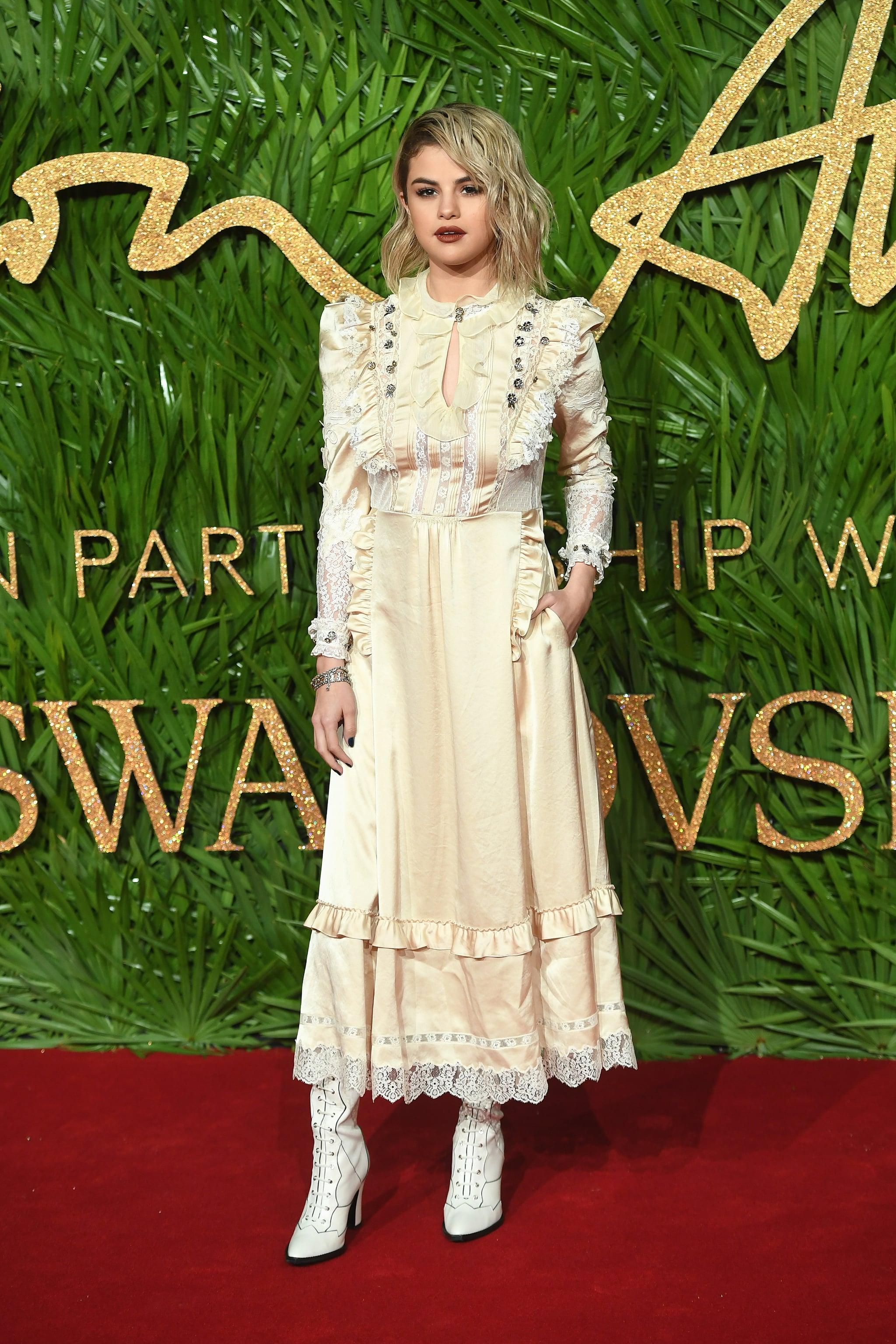 Selena Gomez Coach Dress At Fashion Awards 2017 Popsugar Fashion