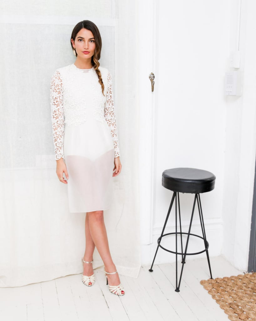 Lily Aldridge was angelic in her white sheer lace Giambattista Valli dress and matching strappy sandals in NYC.  Benjamin Lozovsky/BFAnyc.com