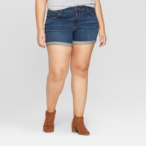 Target Roll Cuff Midi Jean Shorts