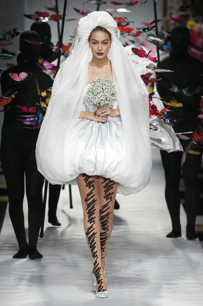 fd945623aca Gigi Hadid Moschino Bride Milan Spring 2019