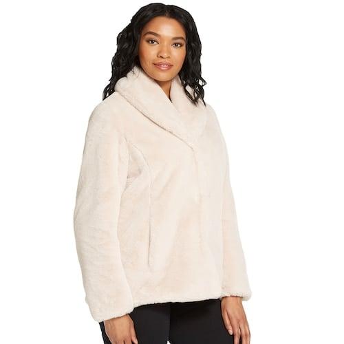 Weathercast Plus Size Shawl Collar Faux Fur Jacket | Cute