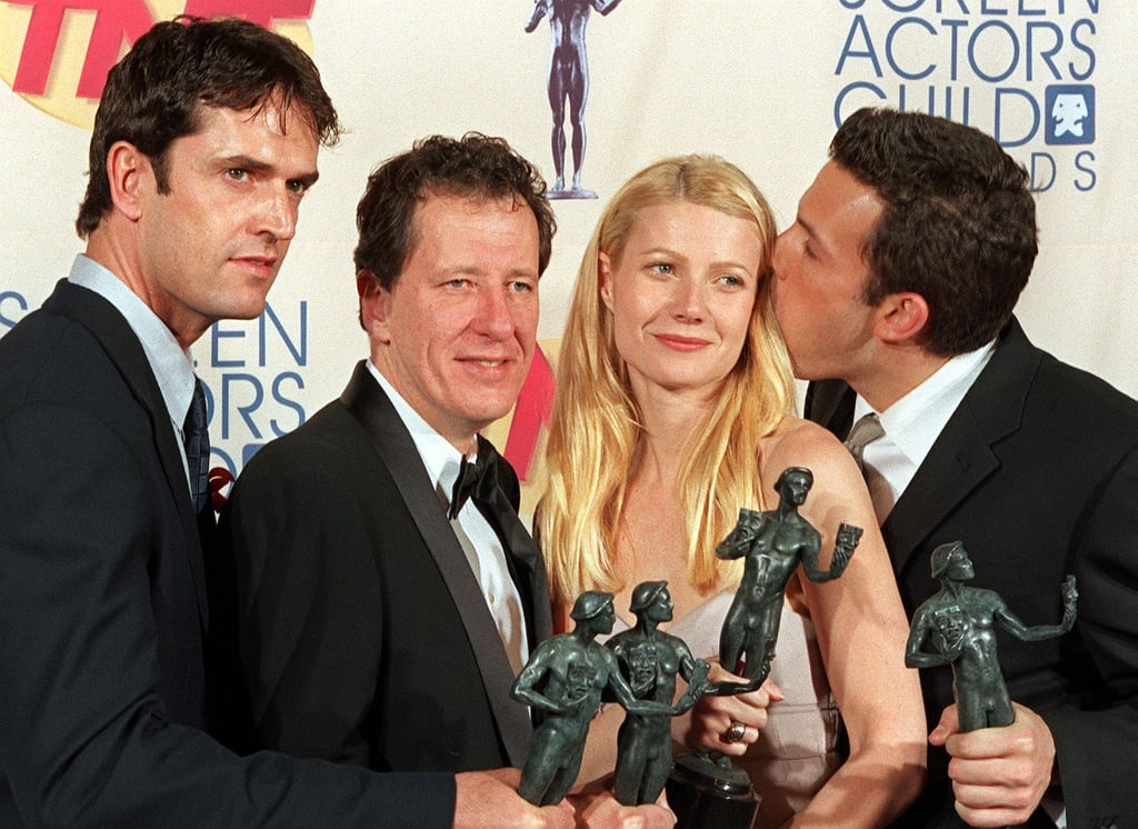 Gwyneth Paltrow and Ben Affleck both won at the 1999 awards, and posed in the press room with Geoffrey Rush and Rupert Everett.