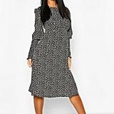 Woven Smudge Print Shirred-Sleeve Midi Dress