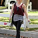 """Hilary Duff engaged in a combination Pilates/boxing/dance workout while pregnant with Luca. Her instructor said, """"Piloxing is the first fitness program that blends the best of Pilates, boxing, and dance into a high-energy, hour-long interval workout. Since Hilary was already in good shape, she's able to do everything but at her own pace with a few modifications like taking more breaks to drink water and catch her breath when her heart rate goes up and not doing advanced ab exercises."""""""