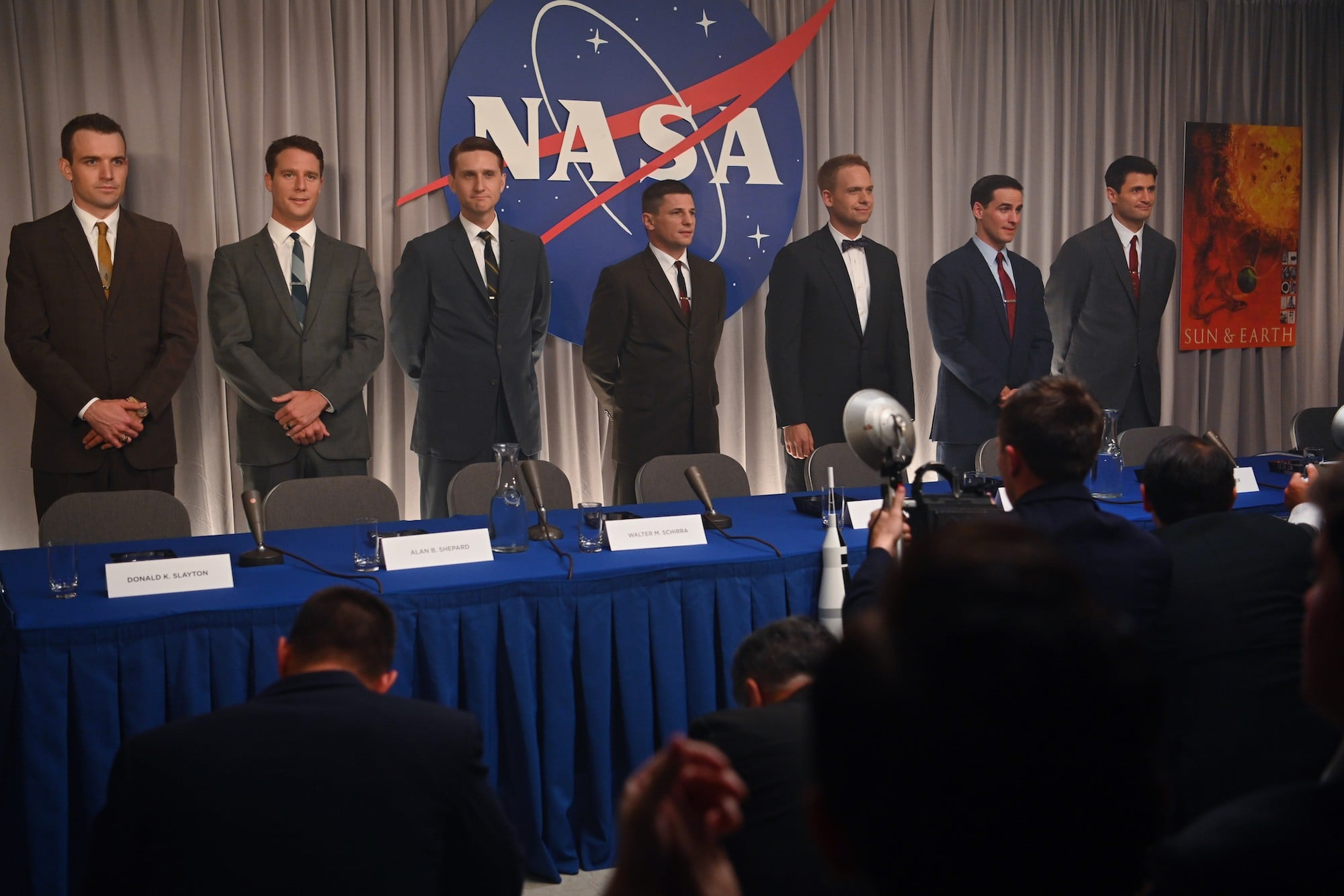 THE RIGHT STUFF, back, from left: Micah Stock as Deke Slayton, Jake McDorman as Alan Shepard, Aaron Staton as Wally Schirra, Michael Trotter as Gus Grissom, Patrick J. Adams as John Glenn, Colin O'Donoghue as Gordon Cooper, James Lafferty as Scott Carpenter, Sierra Hotel, (Season 1, ep. 101, aired Oct. 9, 2020). photo: National Geographic/Gene Page / Disney+ / Courtesy Everett Collection