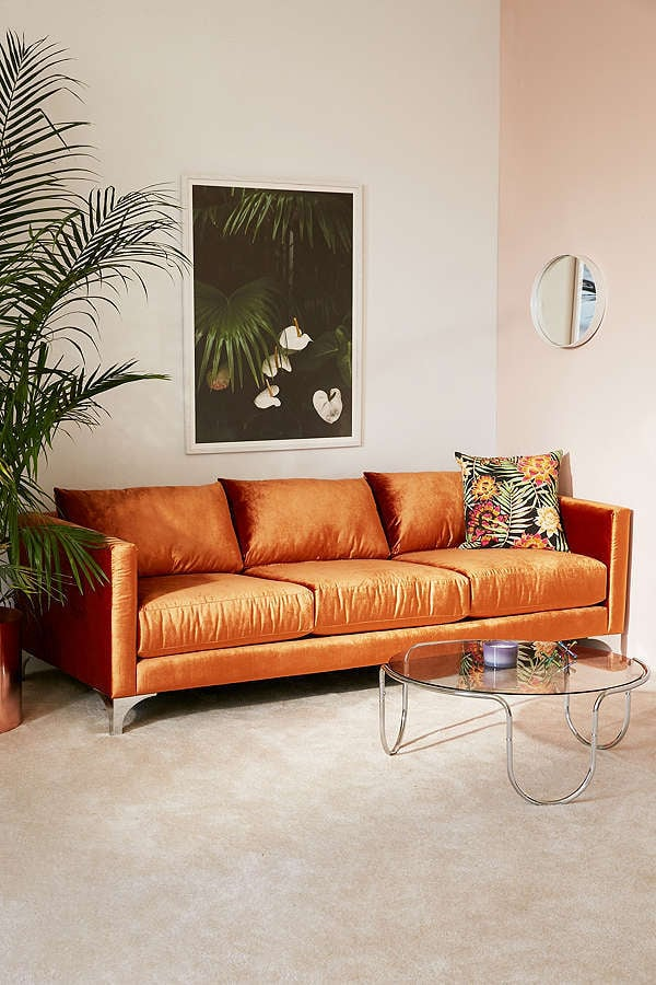 Urban Outfitters Chamberlin Velvet Sofa Cozy Decor From