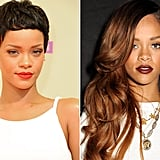 Rihanna: Jet black pixie to half-shaven ombre