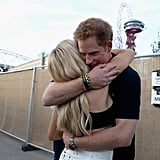 Prince Harry hugged Ellie Goulding backstage at the Invictus Games Closing Ceremony in London in September 2014.