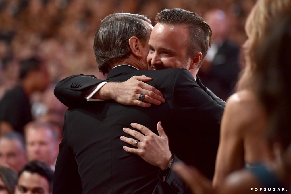 Bryan Cranston and Aaron Paul shared a sweet embrace.
