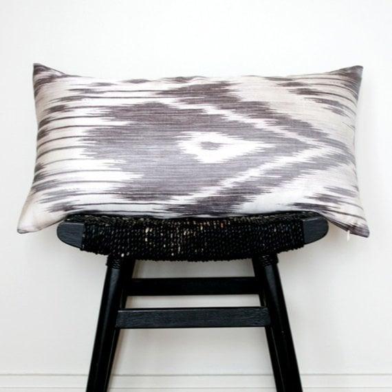 Gray Ikat Linen and Silk Cushion