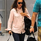 Natalie Portman touched down at JFK with her family.
