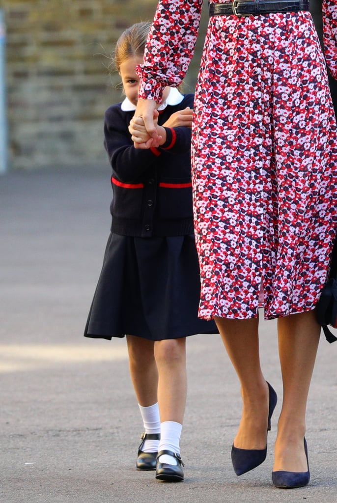 Princess Charlotte Hiding Behind Kate Middleton at School