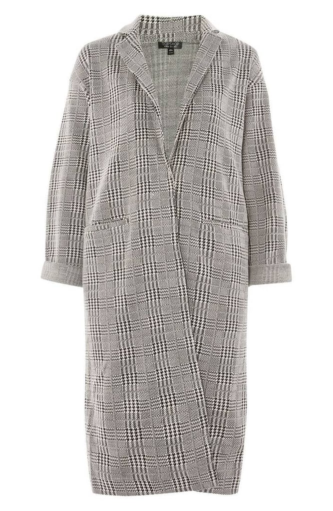 Check Jersey Duster Coat