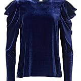 Tibi Silk Velvet Drape Sleeve Top