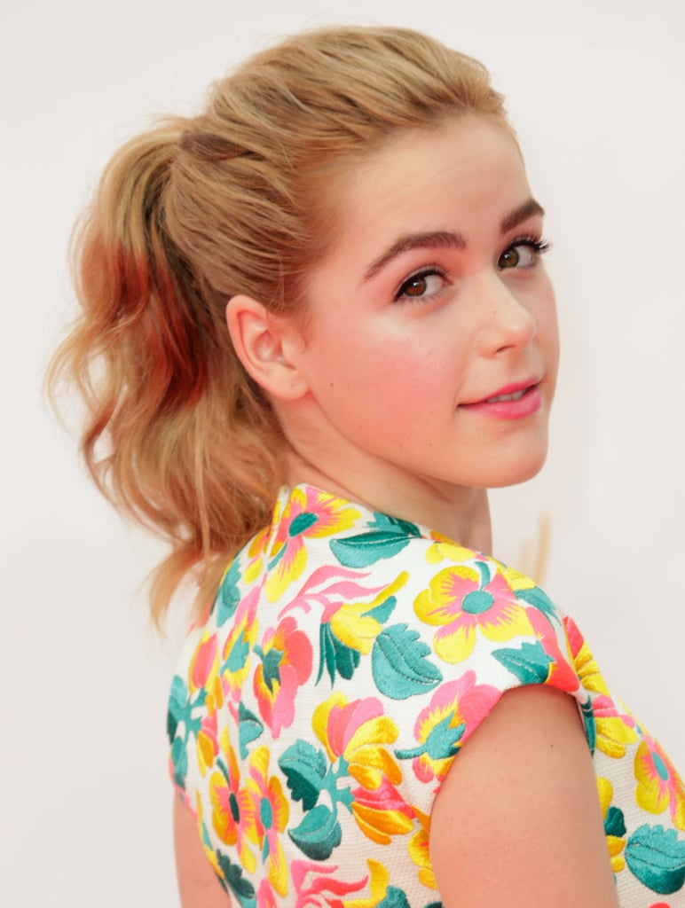 Ponytails were a theme on the Emmys red carpet, and Kiernan Shipka wore hers in a wavy style.