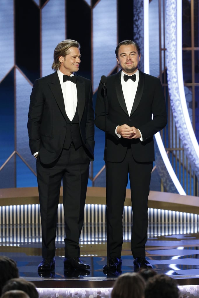 "Brad Pitt took home his second-ever Golden Globe at Sunday night's ceremony. The 56-year-old won best supporting actor for his role as Cliff Booth in Once Upon a Time in Hollywood. After thanking director Quentin Tarantino, Pitt gave a special shout-out to his costar Leonardo DiCaprio or as he likes to call him, LDC. ""My partner in crime,"" Pitt began. ""Before The Revenant, I used to watch, year after year, his costars accept awards and thank him profusely. I know why, he's an all-star, he's a gent, and I wouldn't be here without you, man."" Sweet, right? But Pitt wasn't done quite yet. Before finishing his shout-out, he brought up the famous Titanic door scene again, jokingly adding, ""Still, I would have shared the raft."" LOL! Pitt then mentioned that he wanted to bring his mom as his date, but didn't because people would automatically assume they were dating. Of course, cameras then panned to his ex-wife, Jennifer Aniston, who was sitting in the audience. Pitt's first Golden Globe win was in 1996 for best performance by an actor in a supporting role for Twelve Monkeys.      Related:                                                                                                           Just a Bunch of Photos of Brad Pitt and Leonardo DiCaprio Looking Hot Together"