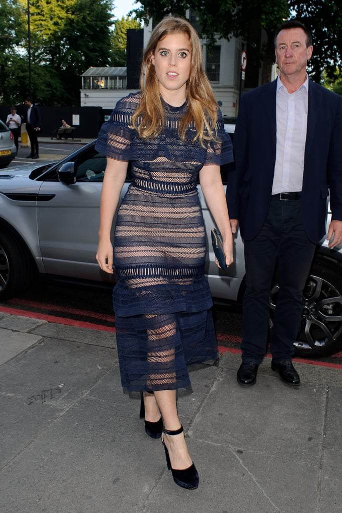 Princess Beatrice Wore a Blue Lace Dress With Velvet Ankle-Strap Heels