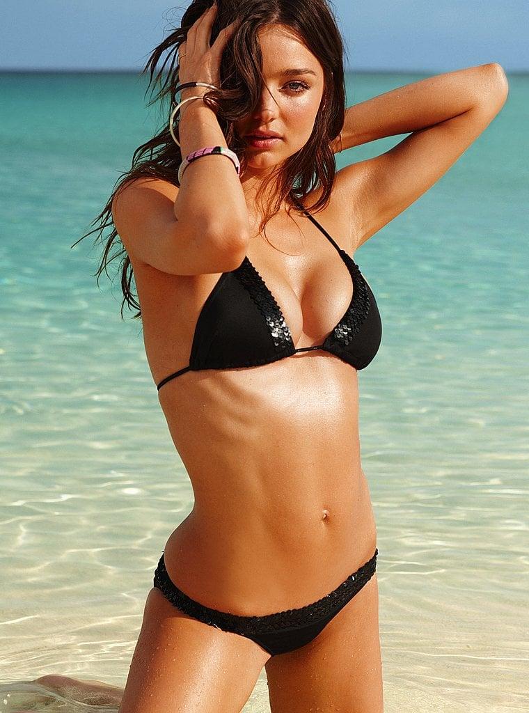 Miranda Kerr in a black bikini.